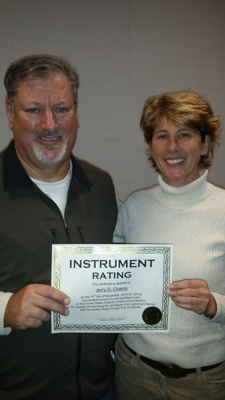Received his Instrument rating with Instructor Cyndy Hollman in his own C182.  Great Job!