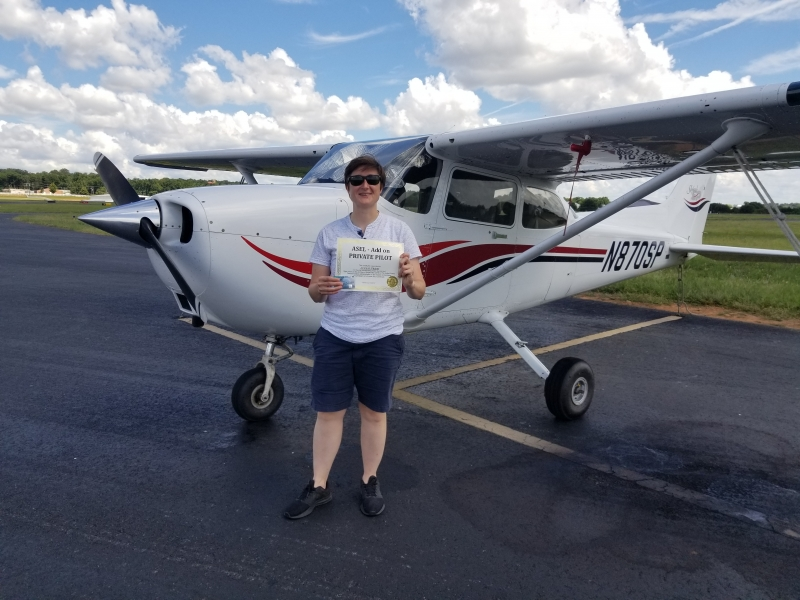 Congratulations to Jenna Pitcher on obtaining her Airplane Single Engine Land Add on! 9/3/2018