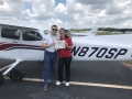Mike Griffith congratulates his student, Monica for achieving her Private Pilot Certificate